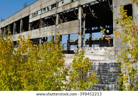 old factory ruins - stock photo