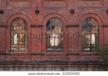 Old factory, the old architecture of the city Lodz, Poland - stock photo