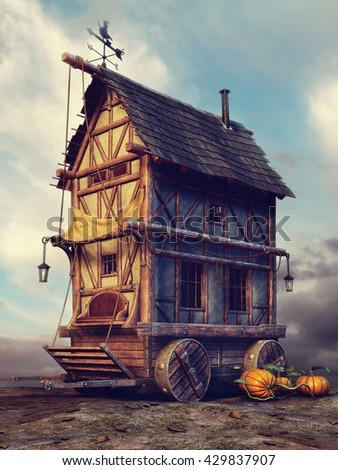 Old fairytale house with pumpkins and lamps. 3D illustration. - stock photo