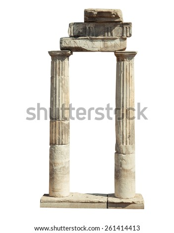 Old famous ruins in Hierapolis isolated on white background - stock photo
