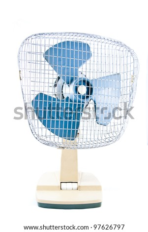 Old fan, isolated on white background - stock photo