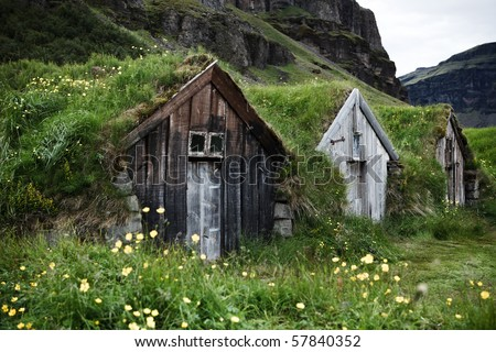Old farm at Kalfafell - Iceland - stock photo