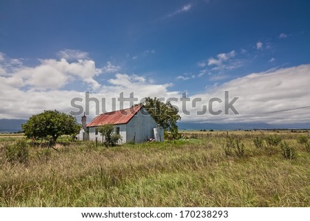 old farm house shack cottage abandoned and un-kept - stock photo