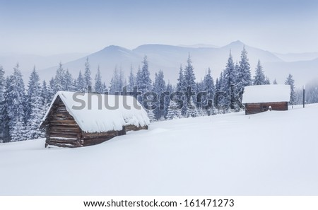 Old farm in the Carpathian mountains. Foggy winter morning. - stock photo