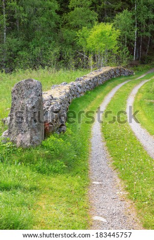 Old farm road between stone walls in the meadow - stock photo