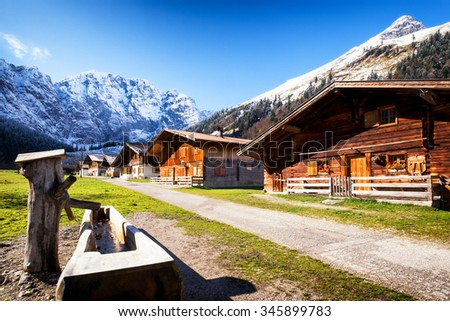 old farmhouse at the eng alm in austria - karwendel mountains - stock photo