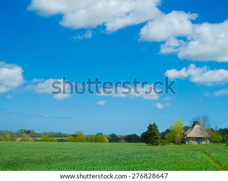 old farmhouse with thatched roof in rural landscape - stock photo