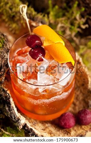 Old Fashion Cocktail - Bourbon, Cane Sugar, Bitter and Orange Peel ...
