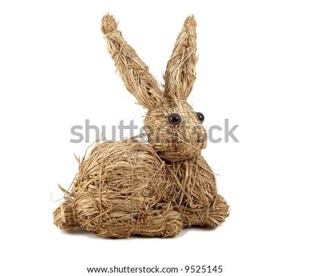 old-fashion fanny hand-made toy straw rabbit - stock photo