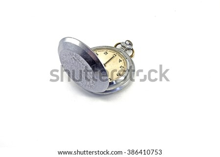 Old fashion pocket watch with white background - stock photo