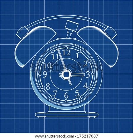 Old-fashioned alarm clock. Cad cartoon white drawing on blue background illustration outline. High resolution 3D  - stock photo