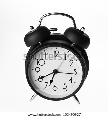Old-fashioned alarm clock isolated on a white background - stock photo
