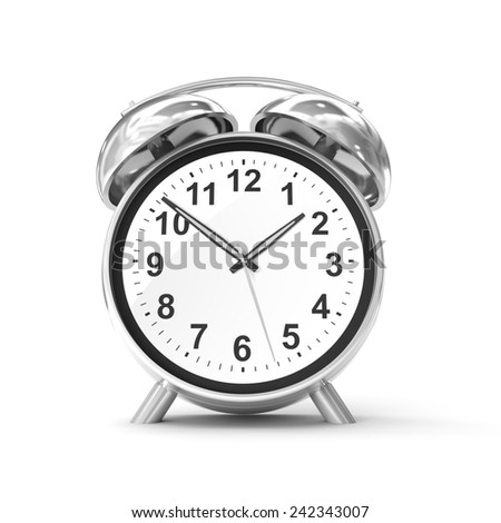 Old fashioned alarm clock isolated on white - stock photo