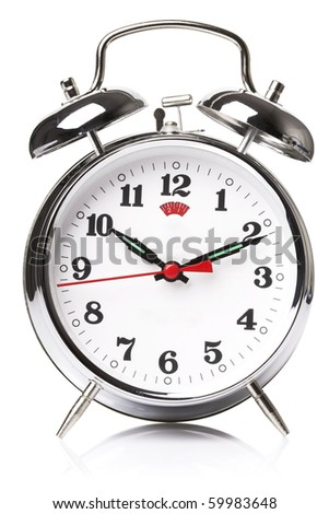 Old fashioned alarm clock on white background - stock photo