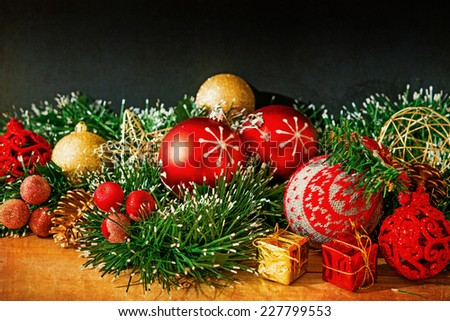 old fashioned antique christmas decoration  - stock photo