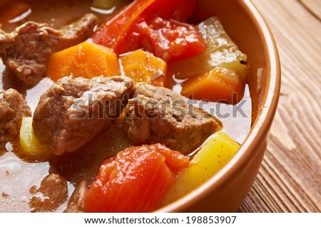 Old fashioned beef stew .homemade American beef stew.country cuisine - stock photo