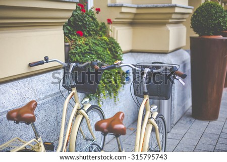 Old-fashioned bike on a street - stock photo