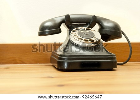 old-fashioned classic telephone - stock photo