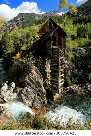 Old fashioned Crystal Mill near Marble, Colorado. - stock photo