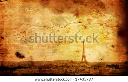 old-fashioned Eiffel Tower - paris France - stock photo