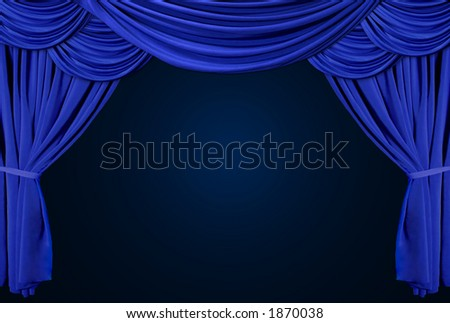 Old fashioned, elegant theater stage with velvet curtains. - stock photo