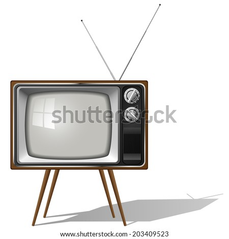 Old-fashioned four legged TV set isolated on white background. - stock photo