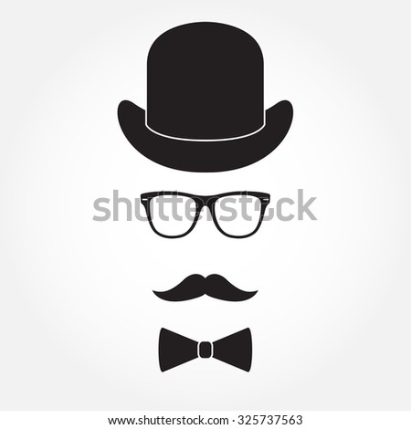 Old fashioned gentleman accessories icons set: hat, glasses, mustache and bowtie. Retro hipster style. - stock photo