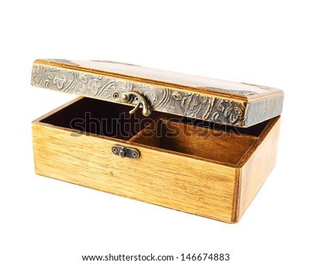 Old-fashioned half-opened wooden old casket isolated over white background - stock photo