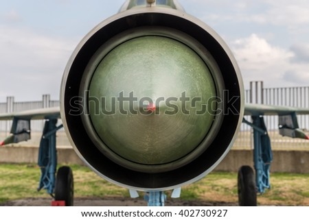 Old fashioned Jet fighter engine inlet vent - stock photo