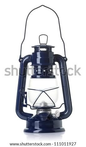 Old-fashioned  lantern on white background - stock photo