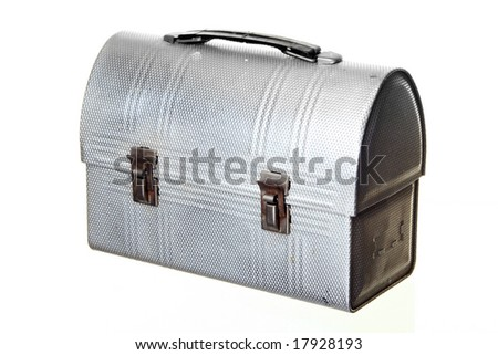 Old-fashioned Lunch Box, isolated against white ground - stock photo