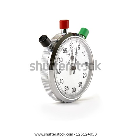 Old fashioned mechanical stop watch isolated on white - stock photo