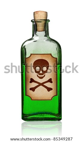 Old fashioned poison bottle with label, isolated, clipping path. - stock photo