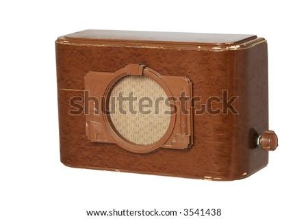 Old fashioned radio set over white 3 - stock photo