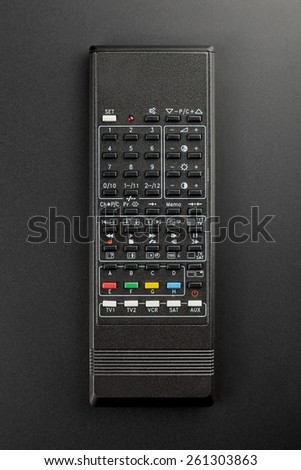 Old fashioned remote control isolated on black background. - stock photo