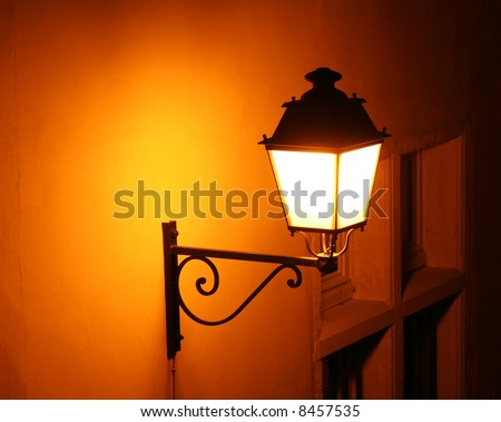 old fashioned street light in Lyon, France - stock photo