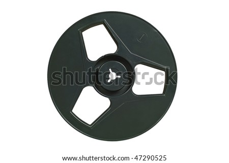 Old-fashioned tape recorder spool. Isolated image on white background - stock photo