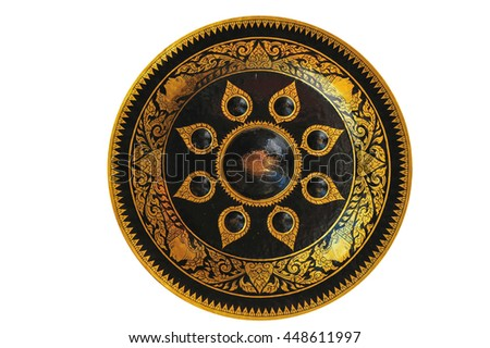 Old fashioned Thai gong musical instrument isolated - stock photo