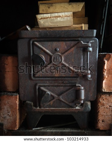Old fashioned wood burning oven - stock photo