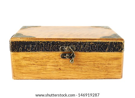 Old-fashioned wooden old casket isolated over white background - stock photo