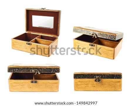 Old-fashioned wooden old casket isolated over white background, set of four foreshortenings - stock photo