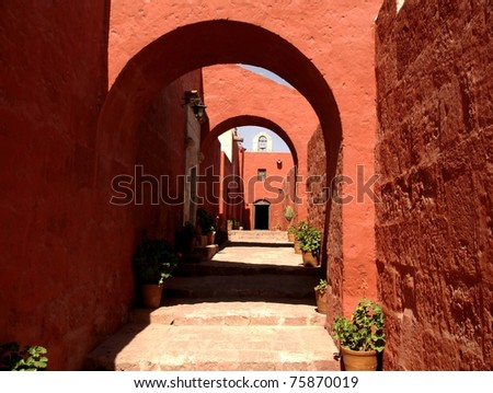 old, female cloister - stock photo