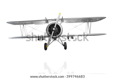 Old fighter plane isolated on white background with clipping path - stock photo