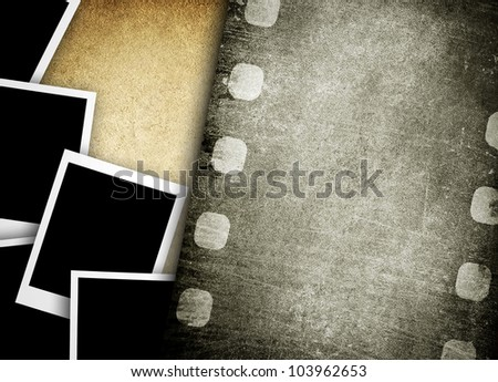 old film and photos background - stock photo