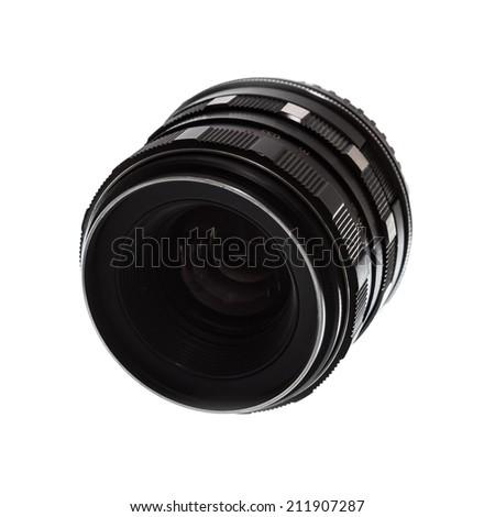 Old film camera manual focus lens - stock photo