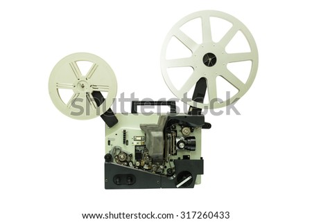 Old film projector isolated on white background. This has clipping path. - stock photo