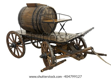 Old firefighter cart isolated on white - stock photo