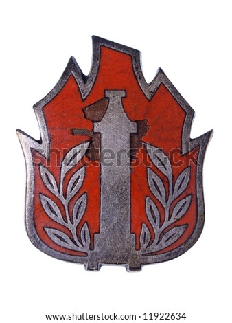 Old Fireman Badge - stock photo