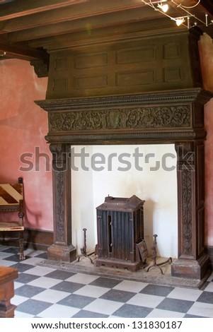 Old fireplace in Castle de Nacqueville (Chateau de Nacqueville), Normandy, France - stock photo
