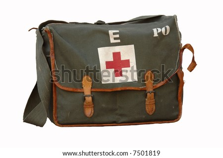 Old first aid military bag isolated on white - stock photo